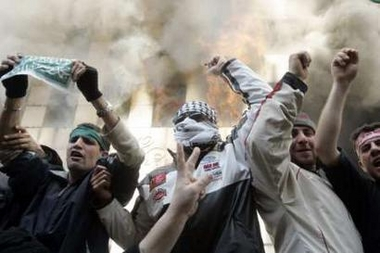 Beirut Palestinians Demonstrators set fire to Danish consulat