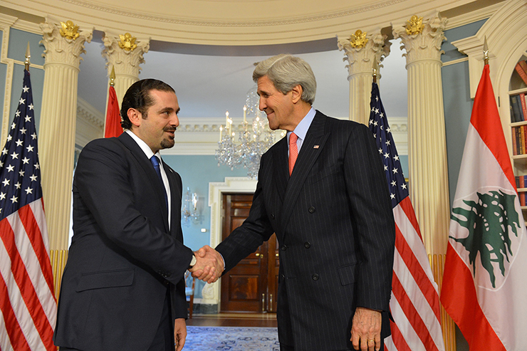 Secretary Kerry Shakes Hands With Former Lebanese Prime Minister Saad Hariri